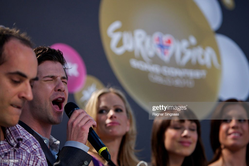 Didrik SolliTangen of Norway performs during a press conference at the Telenor Arena on May 22 2010 in Oslo Norway 39 countries will take part in the...