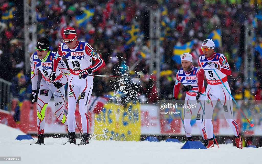 Didrik Toenseth (2ndL) of Norway competes with <a gi-track='captionPersonalityLinkClicked' href=/galleries/search?phrase=Alex+Harvey+-+Skier&family=editorial&specificpeople=6719953 ng-click='$event.stopPropagation()'>Alex Harvey</a> (L) of Canada and Niklas Dyrhaug (R) of Norway during the Men's 50km Mass Start Cross-Country during the FIS Nordic World Ski Championships at the Lugnet venue on March 1, 2015 in Falun, Sweden.