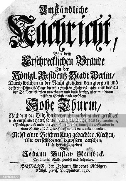 Die erste Seite der Chronik über denbrand der Petrikirche am 29051730herausgegeben von Johann Gustav Reinbeck