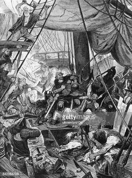 Die hamburgische Flotte unter Simon von Utrecht stellt den Freibeuter Klaus Störtebeker und die Vitalienbrüder nach erbittertem Kampf in der...