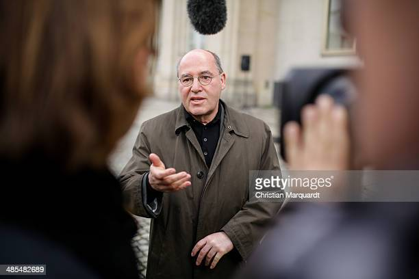 'Die Linke' fraction Leader Gregor Gysi gives a speech during the ecumenical Good Friday procession on April 18 2014 in Berlin Germany Under the...