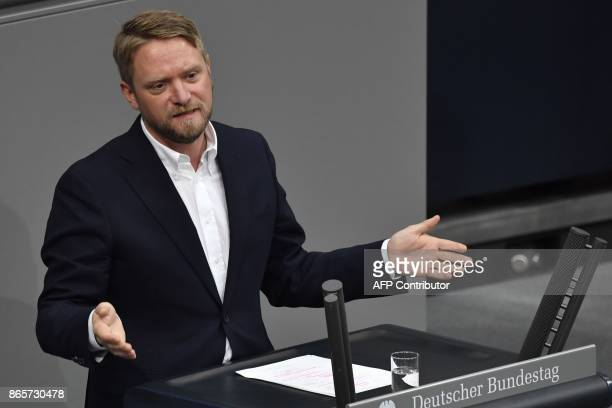 Die Linke left wing party member Jan Korte delivers his speech during the first session of the newlyelected parliament on October 24 2017 at the...