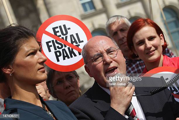 Die Linke leftwing leading politicians Sahra Wagenknecht Gregor Gysi and Katja Kipping lead a protest against the European Union fiscal pact outside...