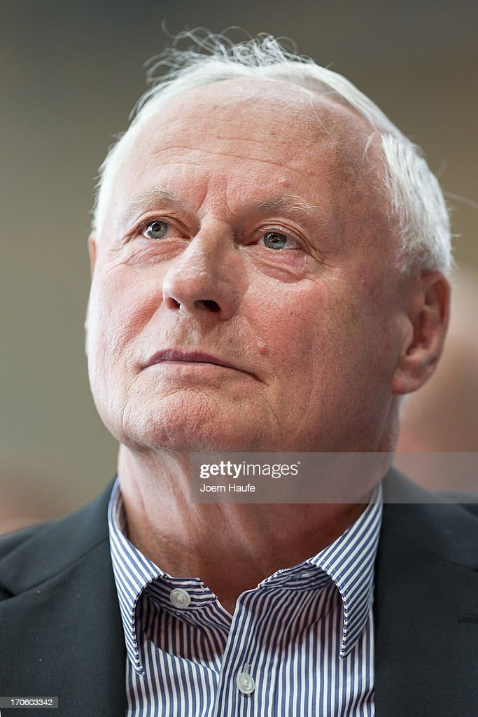 Die Linke left-wing party leading member Oskar Lafontaine looks on during the party's federal convention on June 15, 2013 in Dresden, Germany. Die Linke, Germany's main left-wing political party, are meeting to decide on their policy program for German federal elections scheduled for September.