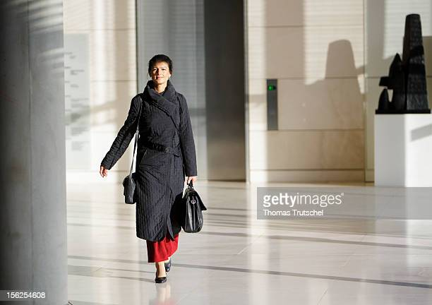 Die Linke leftwing politician Sahra Wagenknecht is pictured at German Bundestag on November 06 2012