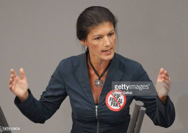 Die Linke leftwing politician Sahra Wagenknecht speaks during debates pior to a vote in the Bundestag on Germany's ratification of the European...