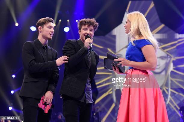 Die Lochis and Barbara Schoeneberger during the Deutscher Webvideopreis 2017 at ISS Dome on June 1 2017 in Duesseldorf Germany