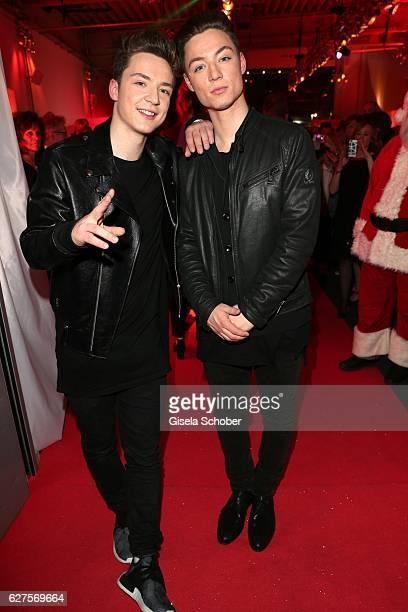 Die Lochis Heiko Lochmann and his twin brother Roman Lochmann during the Ein Herz Fuer Kinder reception at Adlershof Studio on December 3 2016 in...
