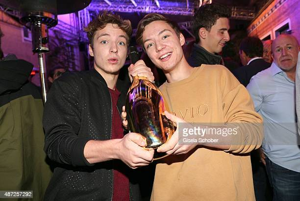 Die Lochis Roman and his twin brother Heiko Lochmann during the world premiere of 'Fack ju Goehte 2' afterparty at Burger Lobster Bank on September 7...
