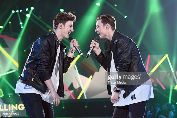 Die Lochis Roman Lochmann and Heiko Lochmann perform at the Webvideopreis Deutschland 2016 Show at Castello on June 4 2016 in Duesseldorf Germany