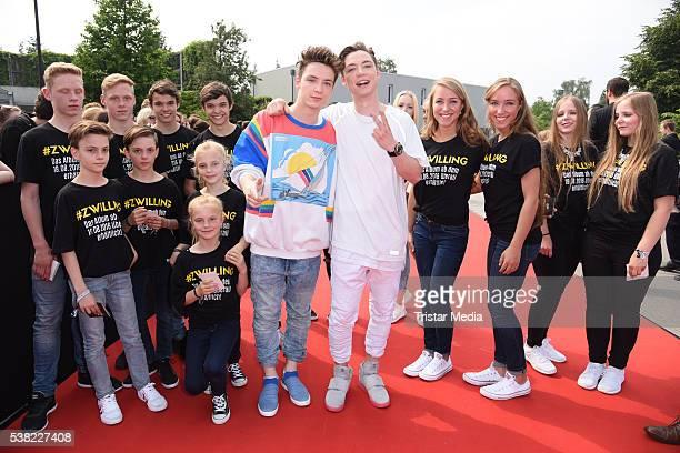 Die Lochis Roman Lochmann Heiko Lochmann attend the Webvideopreis Deutschland 2016 red carpet arrival at Castello on June 4 2016 in Duesseldorf...