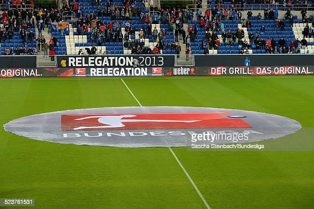 Die Mittelkreisfolie mit dem Branding und Logo der Bundesliga vor dem Relegationsspiel zwischen 1899 Hoffenheim und 1 FC Kaiserslautern in der...