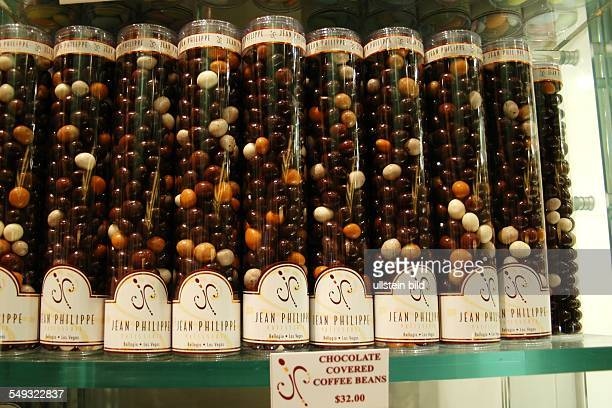 Die Patisserie Jean Philippe in Las Vegas Kaffebohnen mit schokolade umhüllt in der Verpackung
