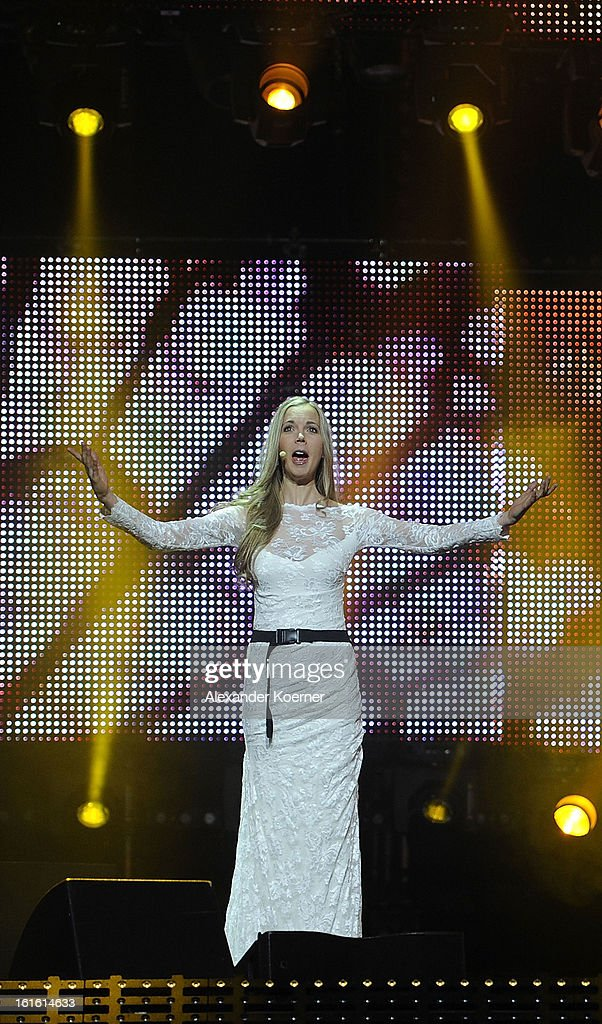 Die Priester feat. Mojca Erdmann performs during the TV Show rehearsals of 'Our Star For Malmoe' on February 13, 2013 in Hanover, Germany. 'Our Star For Malmoe' is a national contest to vote the German contestant for the 58th Eurovision Song Contest taking place in Malmoe, Sweden in May 2013.