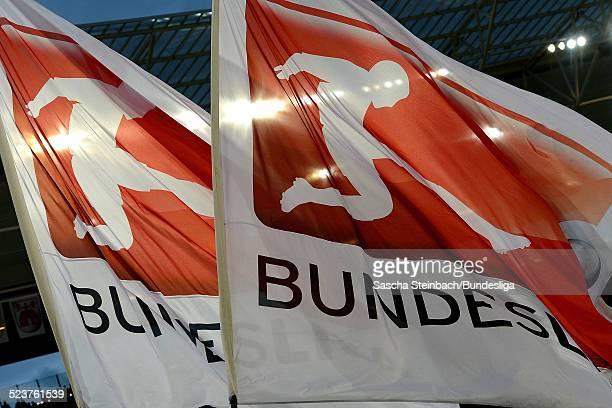 Die Schwenkfahne mit dem Branding und Logo der Bundesliga waehrend des Relegationsspiels zwischen 1899 Hoffenheim und 1 FC Kaiserslautern in der...