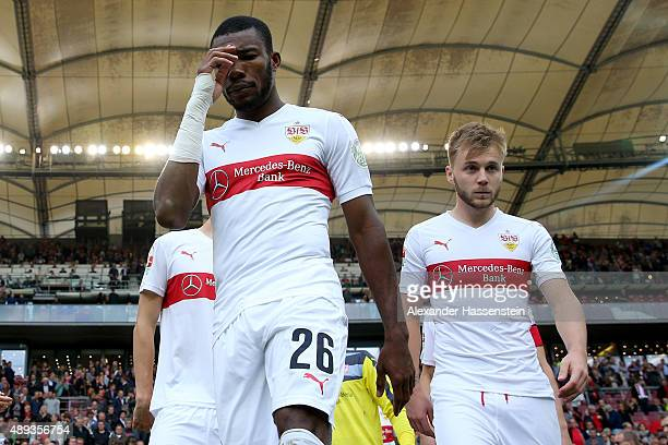 Die Serey of Stuttgart looks on with his team mate Alexandru Maxim prior to the Bundesliga match between VfB Stuttgart and FC Schalke 04 at...