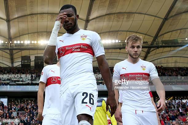Die Serey of Stuttgart looks on with his team mate Alexandru Maxim prior to the Bundesliga match between VfB Stuttgart and FC Schalke 04 at...