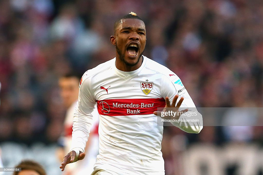 Die Serey of Stuttgart reacts during the Bundesliga match between VfB Stuttgart and Hertha BSC Berlin at Mercedes-Benz Arena on February 13, 2016 in Stuttgart, Germany.