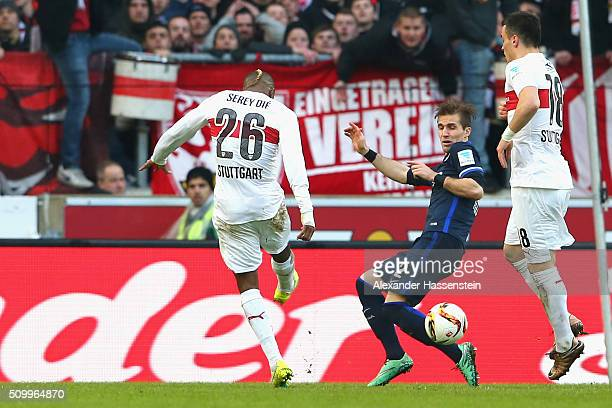 Die Serey of Stuttgart scores the opening goal during the Bundesliga match between VfB Stuttgart and Hertha BSC Berlin at MercedesBenz Arena on...