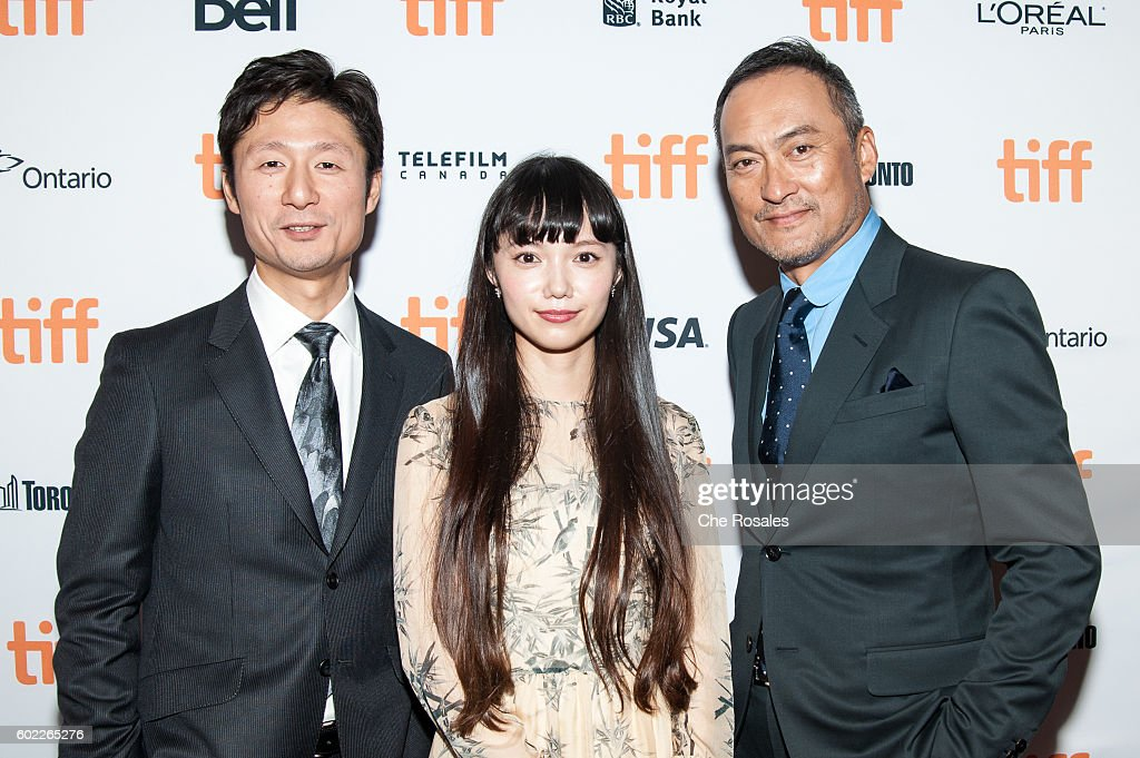 Diector Sang-il Lee, Actress Aoi Miyazaki and Actor Ken Watanabe attend the premiere of 'Rage' during the 2016 Toronto International Film Festival at The Elgin on September 10, 2016 in Toronto, Canada.