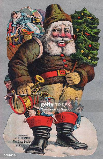 Diecut lithographed trade card features a an illustration of Santa Claus as he smokes a pipe and holds a Christmas tree in one hand a fistful of toys...
