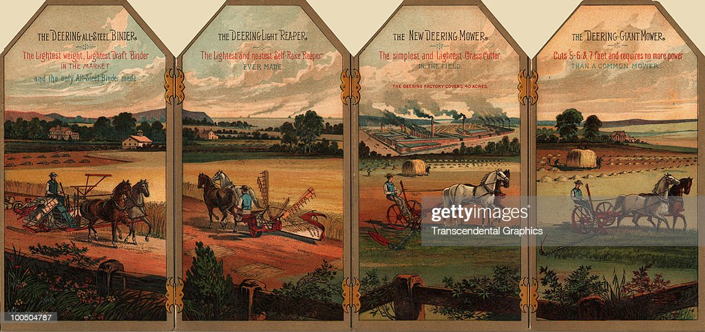 Die-cut trade card folder for Deering-brand farming equipment features illustrations of several of their horse-drawn machines, late 19th century.