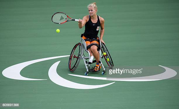 TOPSHOT Diede De Groot of the Netherlands plays in the wheelchair tennis women's singles bronze medal match at the Olympic Tennis Centre during the...