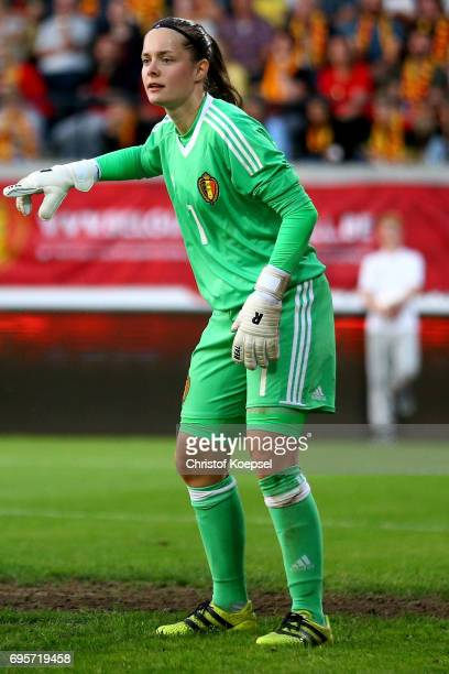 Diede Lemey of Belgium reacts during the Women's International Friendly match between Belgium and Japan at Stadium Den Dreef on June 13 2017 in...
