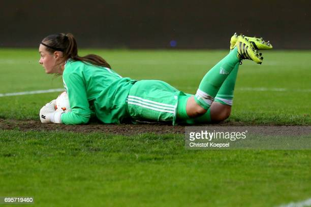 Diede Lemey of Belgium saves a ball during the Women's International Friendly match between Belgium and Japan at Stadium Den Dreef on June 13 2017 in...