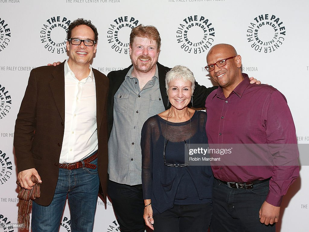 <a gi-track='captionPersonalityLinkClicked' href=/galleries/search?phrase=Diedrich+Bader&family=editorial&specificpeople=2315941 ng-click='$event.stopPropagation()'>Diedrich Bader</a>, John DiMaggio, Andrea Romano and James Tucker attend 'An Evening With Batman: The Brave And The Bold'presented by the Paley Center For Media at Paley Center For Media on October 11, 2013 in New York City.
