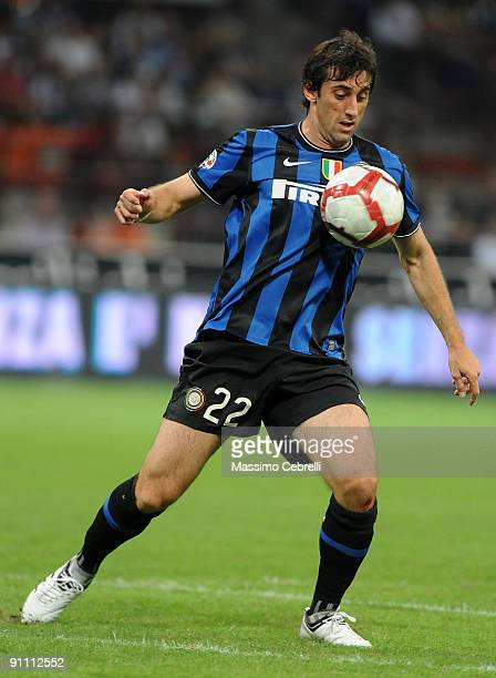 Diego Alberto Milito of FC Inter Milan in action during the Serie A match between FC Inter Milan and SSC Napoli at Stadio Giuseppe Meazza on...