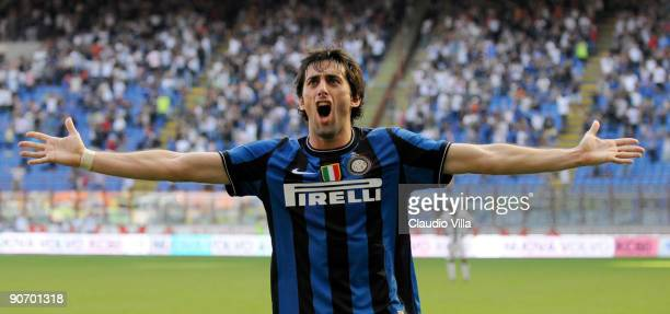Diego Alberto Milito of Inter Milan celebrates after scoring him team's second goal during the Serie A match between Inter Milan and Parma at Stadio...