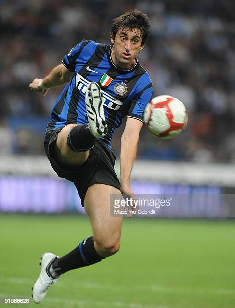 Diego Alberto Milito of Inter Milan in action during the Serie A match between FC Inter Milan and SSC Napoli at Stadio Giuseppe Meazza on September...