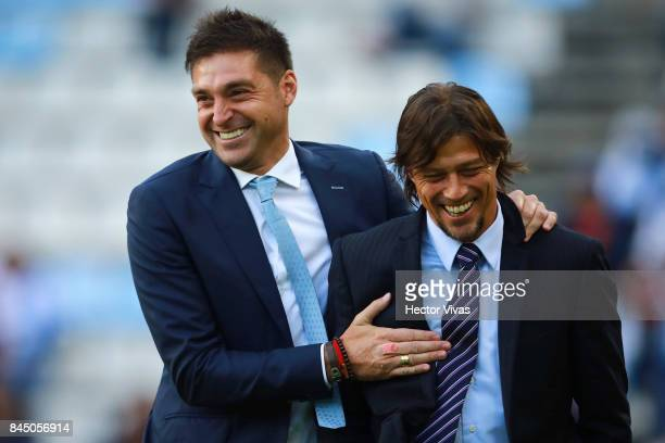 Diego Alonso coach of Pachuca and Matias Almeyda coach of Chivas joke prior the 8th round match between Pachuca and Chivas as part of the Torneo...
