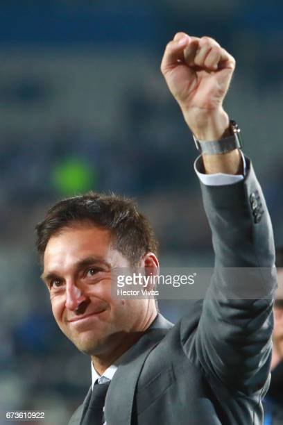 Diego Alonso coach of Pachuca celebrates after winning the Final second leg match between Pachuca and Tigres UANL as part of the CONCACAF Champions...