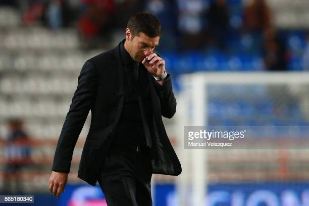 Diego Alonso coach of Pachuca leaves the field after the 14th round match between Pachuca and Puebla as part of the Torneo Apertura 2017 Liga MX at...