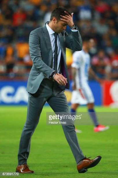 Diego Alonso head coach of Pachuca reacts during the Final second leg match between Pachuca and Tigres UANL as part of the CONCACAF Champions League...
