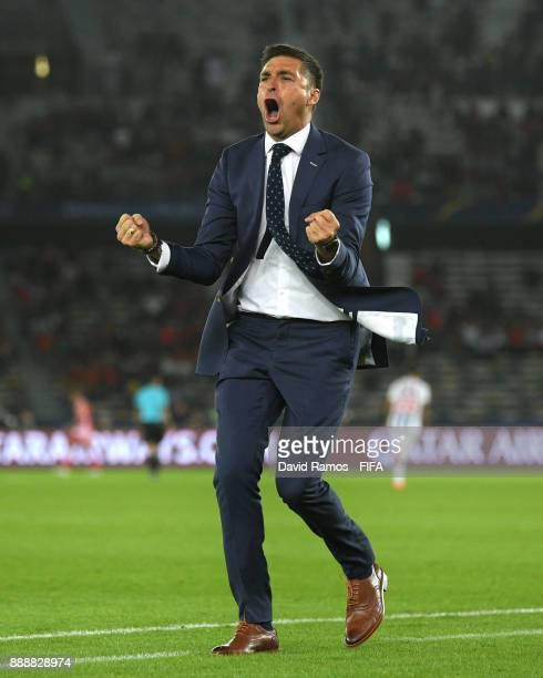Diego Alonso Manager of Pachuca celebrates his sides first goal during the FIFA Club World Cup match between CF Pachuca and Wydad Casablanca at Zayed...