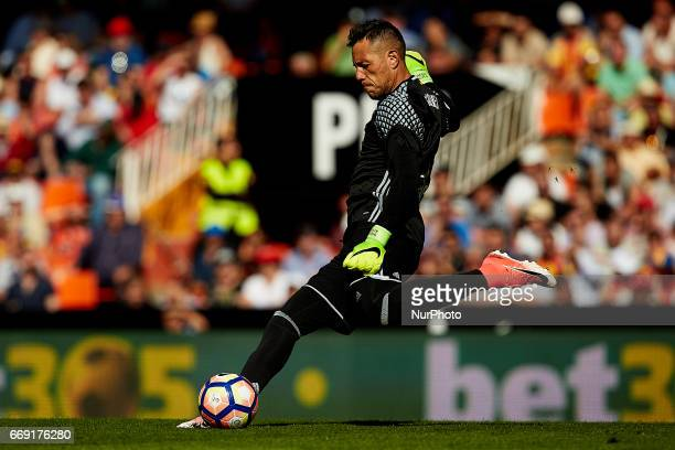 Diego Alves goalkeeper of Valencia CF kicks the ball during the La Liga match between Valencia CF and Sevilla FC at Mestalla stadium on April 16 2017...