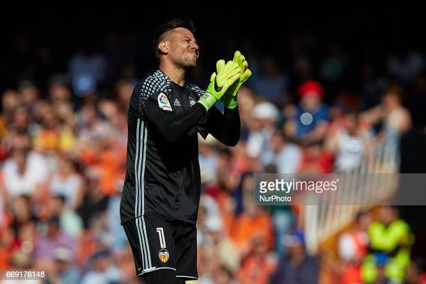 Diego Alves goalkeeper of Valencia CF reacts during the La Liga match between Valencia CF and Sevilla FC at Mestalla stadium on April 16 2017 in...