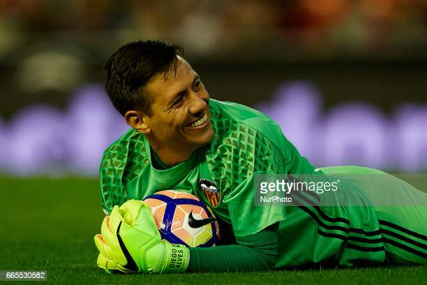 Diego Alves goalkeeper of Valencia CF smiles during the La Liga match between Valencia CF and Real Club Celta de Vigo at Mestalla Stadium on April 6...