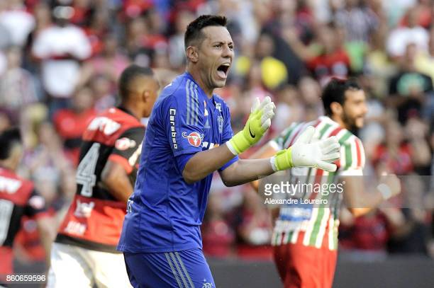 Diego Alves of Flamengo yells during the match between Flamengo and Fluminense as part of Brasileirao Series A 2017 at Maracana Stadium on October 12...