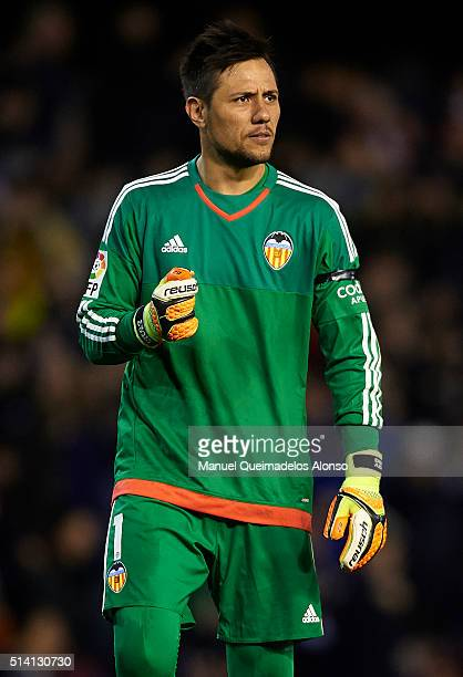 Diego Alves of Valencia celebrates during the La Liga match between Valencia CF and Atletico de Madrid at Estadi de Mestalla on March 06 2016 in...