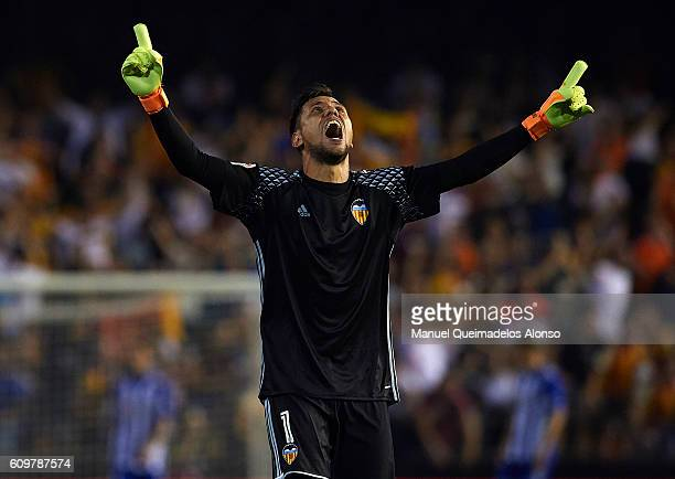 Diego Alves of Valencia celebrates during the La Liga match between Valencia CF and Deportivo Alaves at Mestalla Stadium on September 22 2016 in...