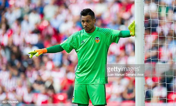 Diego Alves of Valencia CF controls the ball during the La Liga match between Athletic Club Bilbao and Valencia CF at San Mames Stadium on September...