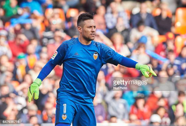 Diego Alves of Valencia CF during their La Liga match between Valencia CF and Athletic Club de Bilbao at the Estadio de Mestalla on 19 February 2017...