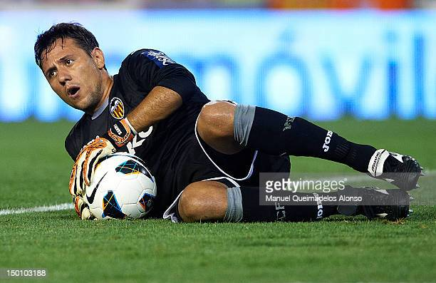 Diego Alves of Valencia CF in action during the preseason friendly match between Valencia CF and Tottenham Hotspur at Estadio Mestalla on August 9...