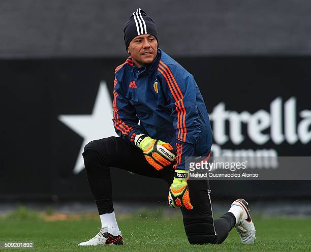 Diego Alves of Valencia CF looks on during a training session ahead of Wednesday's Copa del Rey Semi Final second leg match between Valencia CF and...