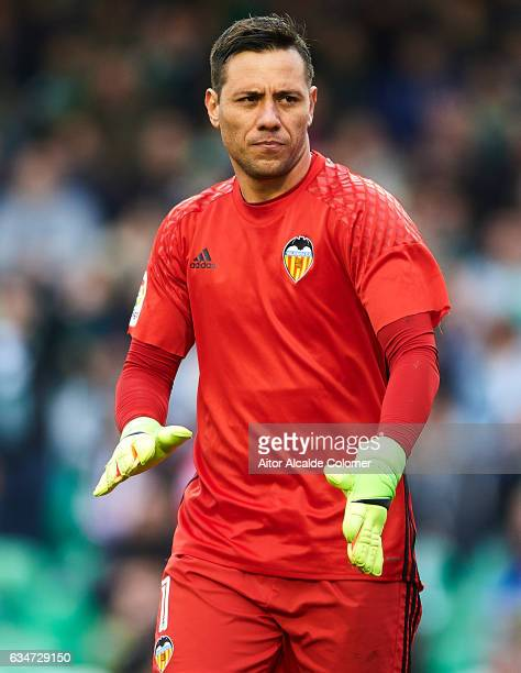 Diego Alves of Valencia CF looks on during La Liga match between Real Betis Balompie and Valencia CF at Benito Villamarin Stadium on February 11 2017...