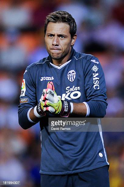 Diego Alves of Valencia CF looks on during the La Liga match between Valencia CF and Sevilla FC at Estadio Mestalla on September 22 2013 in Valencia...